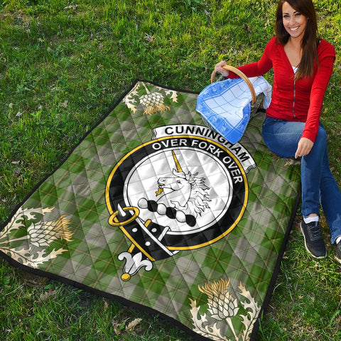 Image of Cunningham Dress Green Dancers Clan Crest Tartan Scotland Thistle Gold Pattern Premium Quilt K9
