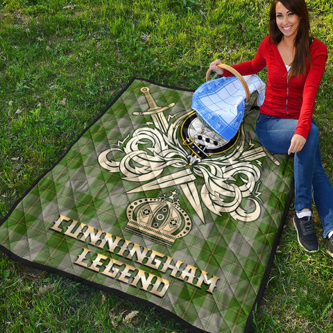 Image of Cunningham Dress Green Dancers Clan Crest Tartan Scotland Clan Legend Gold Royal Premium Quilt K9