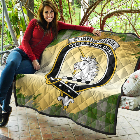 Image of Cunningham Dress Green Dancers Clan Crest Tartan Scotland Gold Royal Premium Quilt K9