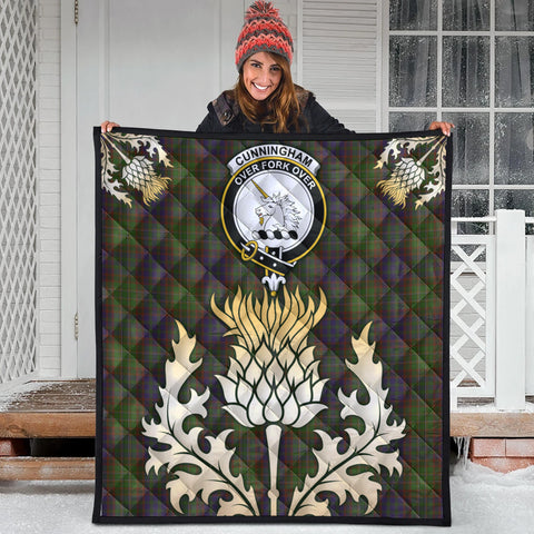 Image of Cunningham Hunting Modern Clan Crest Tartan Scotland Thistle Gold Royal Premium Quilt