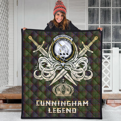 Cunningham Hunting Modern Clan Crest Tartan Scotland Clan Legend Gold Royal Premium Quilt