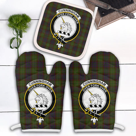 Cunningham Hunting Modern Clan Crest Tartan Scotland Oven Mitt And Pot-Holder (Set Of Two)