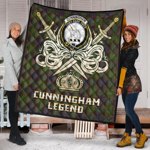 Cunningham Hunting Modern Clan Crest Tartan Scotland Clan Legend Gold Royal Premium Quilt K9
