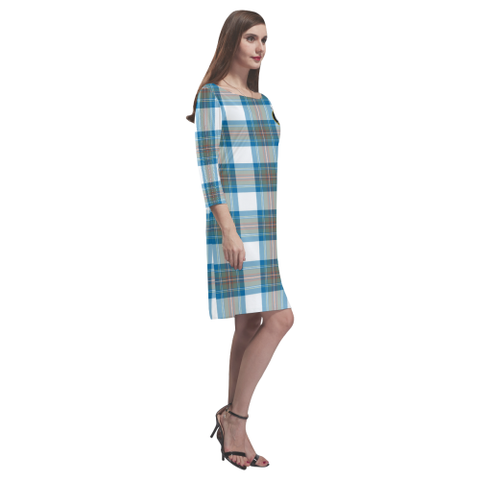 Tartan dresses - Stewart Muted Blue Tartan Dress - Round Neck Dress Clan Badge TH8
