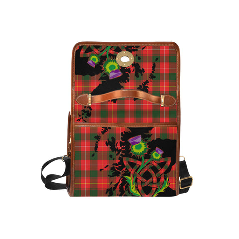 Image of MacPhee Modern Tartan Map & Thistle Waterproof Canvas Handbag| Hot Sale