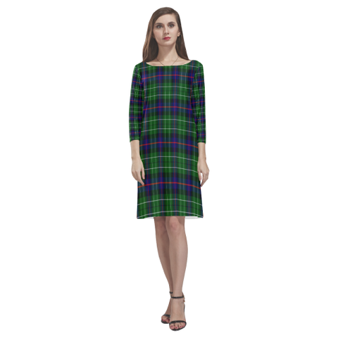 Tartan dresses - Leslie Hunting Tartan Dress - Round Neck Dress TH8