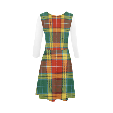 Image of Buchanan Old Sett Tartan 3/4 Sleeve Sundress | Exclusive Over 500 Clans