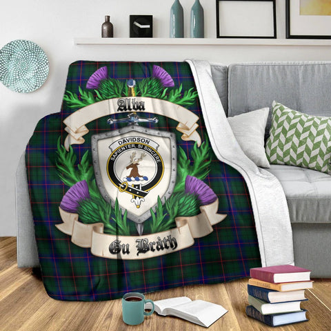 Davidson Modern Crest Tartan Blanket Thistle  | Tartan Home Decor | Scottish Clan