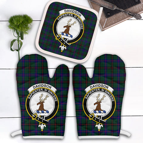 Davidson Modern Clan Crest Tartan Scotland Oven Mitt And Pot-Holder (Set Of Two)
