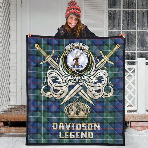 Davidson of Tulloch  Clan Crest Tartan Scotland Clan Legend Gold Royal Premium Quilt