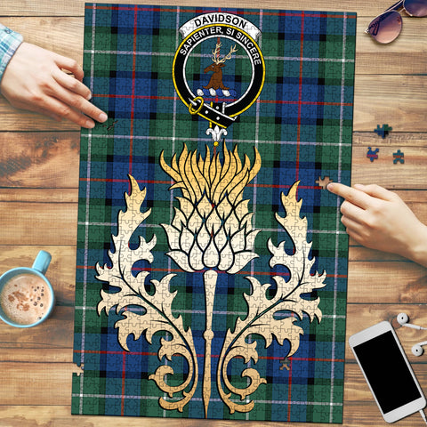 Davidson of Tulloch  Clan Crest Tartan Thistle Gold Jigsaw Puzzle