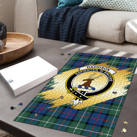 Image of Davidson of Tulloch  Clan Crest Tartan Jigsaw Puzzle Gold