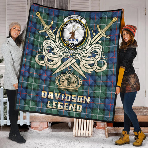 Davidson of Tulloch  Clan Crest Tartan Scotland Clan Legend Gold Royal Premium Quilt K9