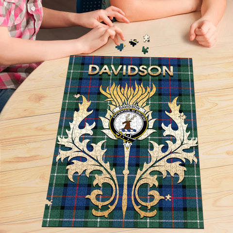 Davidson of Tulloch  Clan Name Crest Tartan Thistle Scotland Jigsaw Puzzle