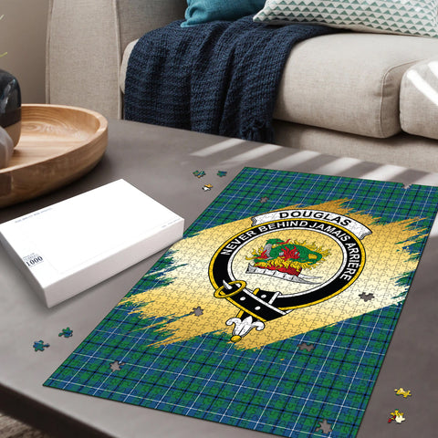 Image of Douglas Ancient Clan Crest Tartan Jigsaw Puzzle Gold