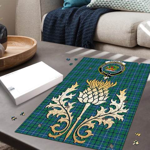 Image of Douglas Ancient Clan Crest Tartan Thistle Gold Jigsaw Puzzle