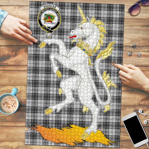 Image of Douglas Grey Modern Clan Crest Tartan Unicorn Scotland Jigsaw Puzzle