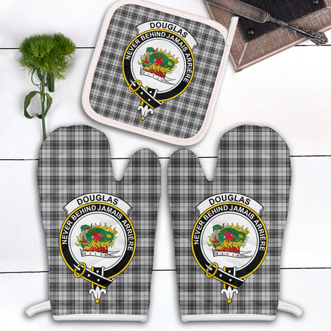 Douglas Grey Modern Clan Crest Tartan Scotland Oven Mitt And Pot-Holder (Set Of Two)