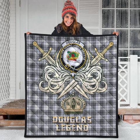 Douglas Grey Modern Clan Crest Tartan Scotland Clan Legend Gold Royal Premium Quilt
