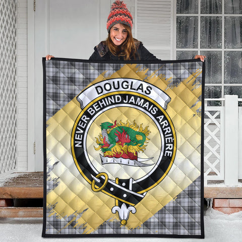 Image of Douglas Grey Modern Clan Crest Tartan Scotland Gold Royal Premium Quilt