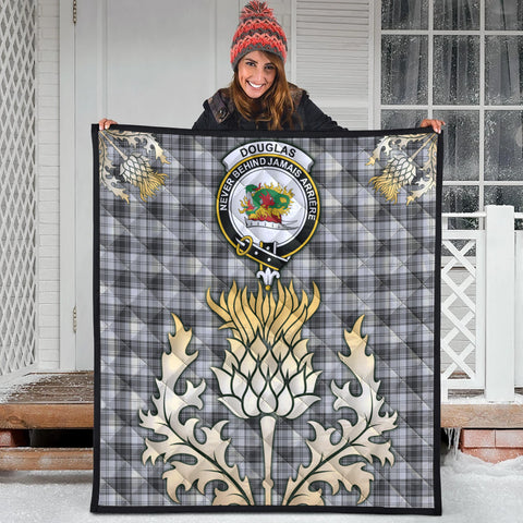 Douglas Grey Modern Clan Crest Tartan Scotland Thistle Gold Royal Premium Quilt