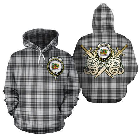 Douglas Grey Modern Clan Crest Tartan Scottish Gold Thistle Hoodie
