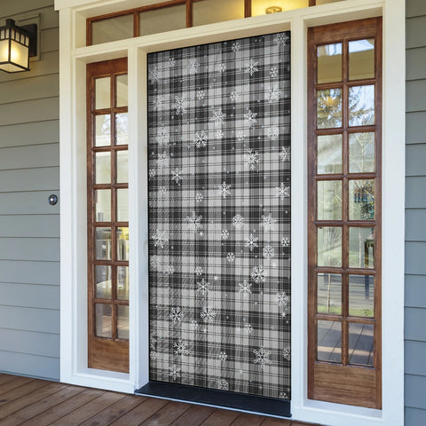 Douglas Grey Modern Christmas Tartan Door Sock Cover