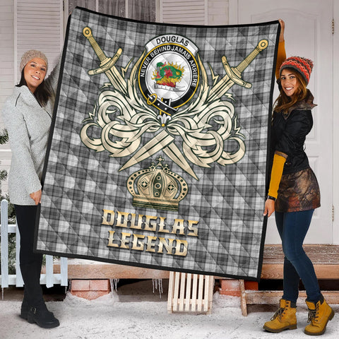 Douglas Grey Modern Clan Crest Tartan Scotland Clan Legend Gold Royal Premium Quilt K9