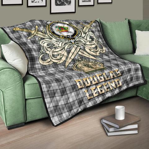 Image of Douglas Grey Modern Clan Crest Tartan Scotland Clan Legend Gold Royal Premium Quilt K9