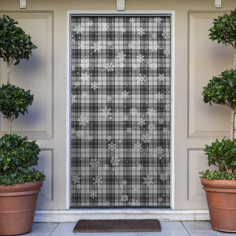 Image of Douglas Grey Modern Christmas Tartan Door Sock Cover