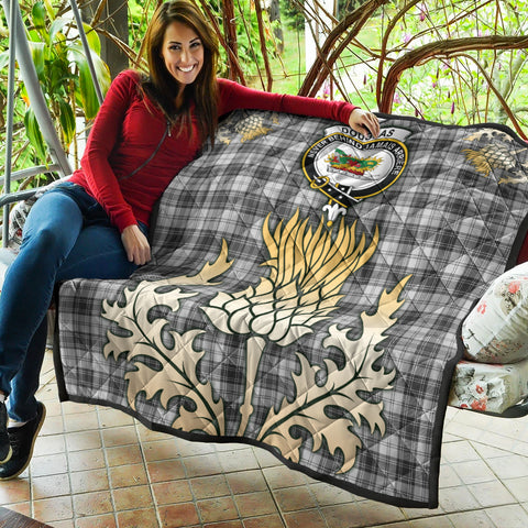 Image of Douglas Grey Modern Clan Crest Tartan Scotland Thistle Gold Royal Premium Quilt K9