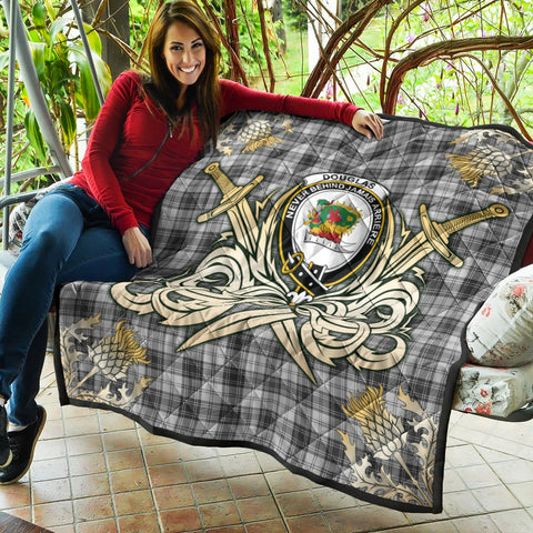 Image of Douglas Grey Modern Clan Crest Tartan Scotland Thistle Symbol Gold Royal Premium Quilt K9