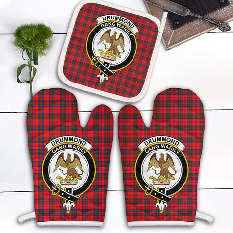 Image of Drummond Modern Clan Crest Tartan Scotland Oven Mitt And Pot-Holder (Set Of Two)