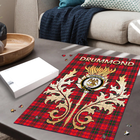 Image of Drummond Modern Clan Name Crest Tartan Thistle Scotland Jigsaw Puzzle