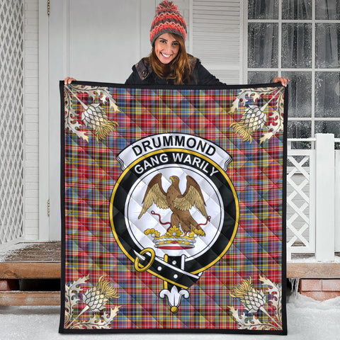 Image of Drummond of Strathallan Clan Crest Tartan Scotland Thistle Gold Pattern Premium Quilt