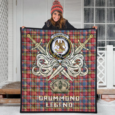 Image of Drummond of Strathallan Clan Crest Tartan Scotland Clan Legend Gold Royal Premium Quilt