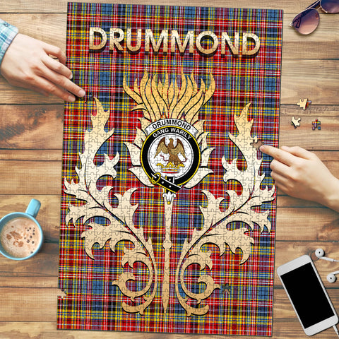 Image of Drummond of Strathallan Clan Name Crest Tartan Thistle Scotland Jigsaw Puzzle