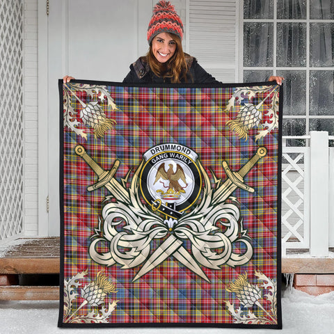 Image of Drummond of Strathallan Clan Crest Tartan Scotland Thistle Symbol Gold Royal Premium Quilt