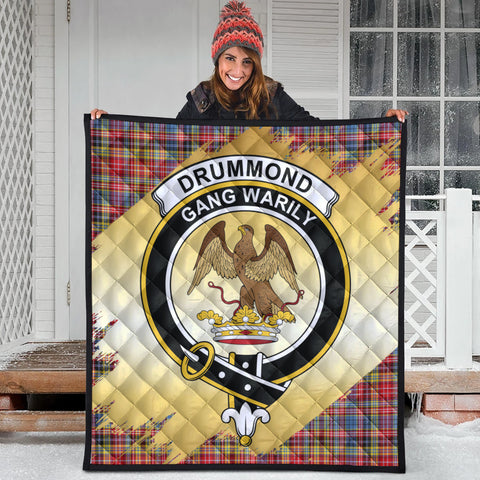 Image of Drummond of Strathallan Clan Crest Tartan Scotland Gold Royal Premium Quilt