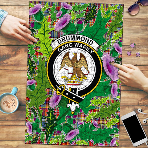 Image of Drummond of Strathallan Clan Crest Tartan Thistle Pattern Scotland Jigsaw Puzzle