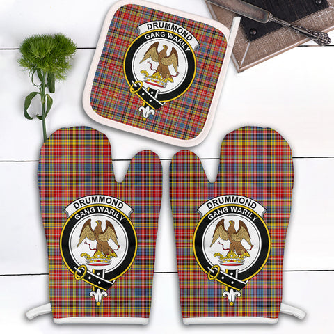 Image of Drummond of Strathallan Clan Crest Tartan Scotland Oven Mitt And Pot-Holder (Set Of Two)
