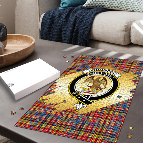 Image of Drummond of Strathallan Clan Crest Tartan Jigsaw Puzzle Gold