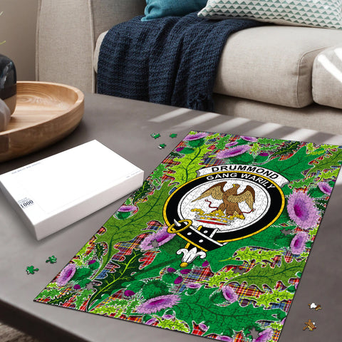 Drummond of Strathallan Clan Crest Tartan Thistle Pattern Scotland Jigsaw Puzzle