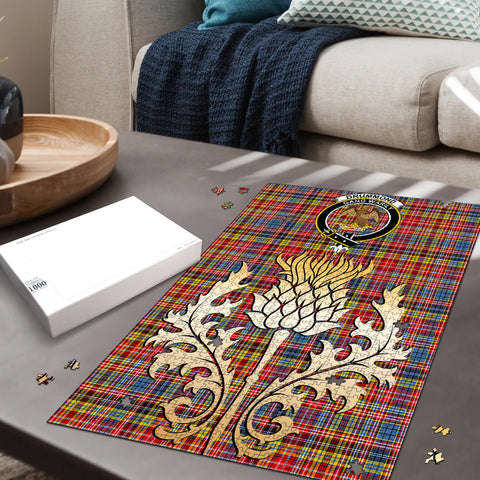 Image of Drummond of Strathallan Clan Crest Tartan Thistle Gold Jigsaw Puzzle