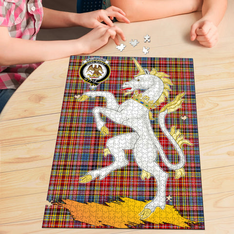 Drummond of Strathallan Clan Crest Tartan Unicorn Scotland Jigsaw Puzzle