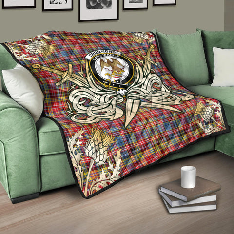 Image of Drummond of Strathallan Clan Crest Tartan Scotland Thistle Symbol Gold Royal Premium Quilt K9