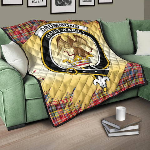 Image of Drummond of Strathallan Clan Crest Tartan Scotland Gold Royal Premium Quilt K9