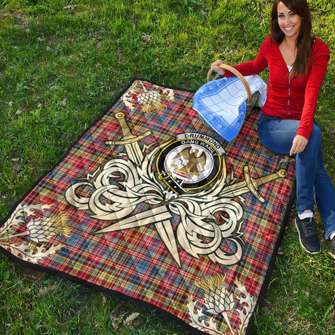 Drummond of Strathallan Clan Crest Tartan Scotland Thistle Symbol Gold Royal Premium Quilt K9