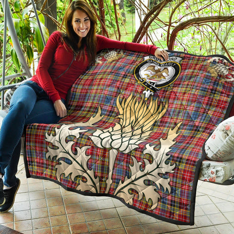 Image of Drummond of Strathallan Clan Crest Tartan Scotland Thistle Gold Royal Premium Quilt K9