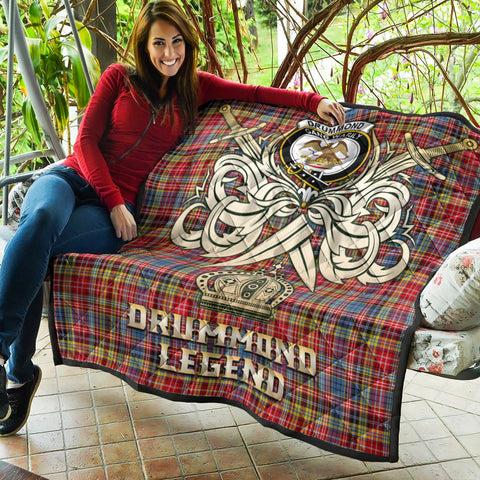 Image of Drummond of Strathallan Clan Crest Tartan Scotland Clan Legend Gold Royal Premium Quilt K9